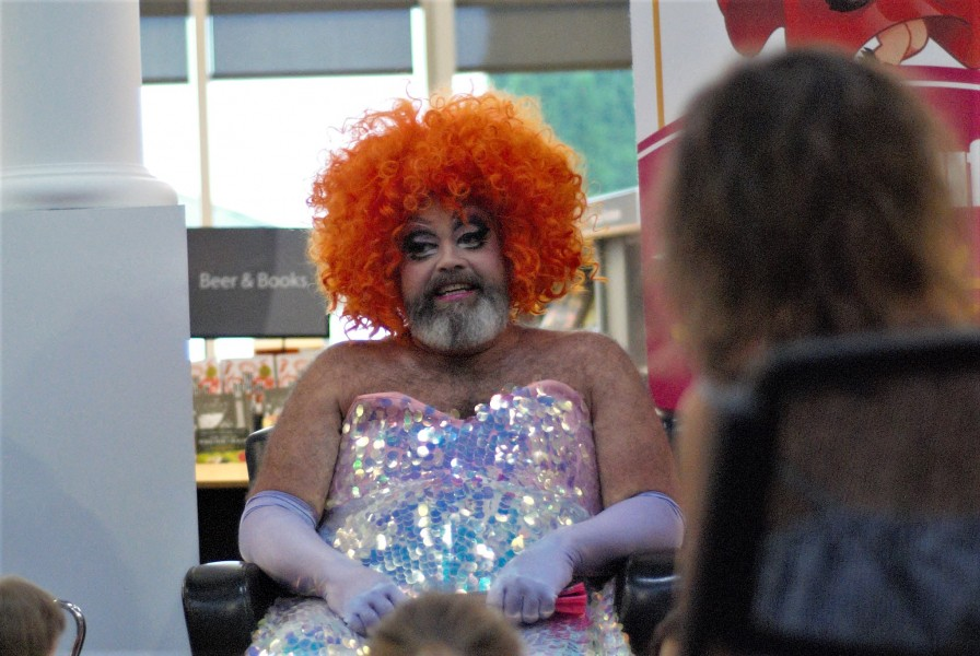 Fay Slift, one part of the drag queen story time duo. (Brittany Carter/Niagara Now)