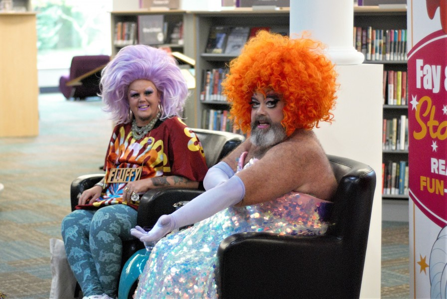 Fluffy Souffle and Fay Slift are drag performers and child educators. (Brittany Carter/Niagara Now)