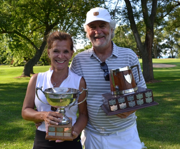 A winning couple: Women's open champ Louise Robitaille and her husband Stephen Warboys, men's senior champ. (Kevin MacLean/Niagara Now)