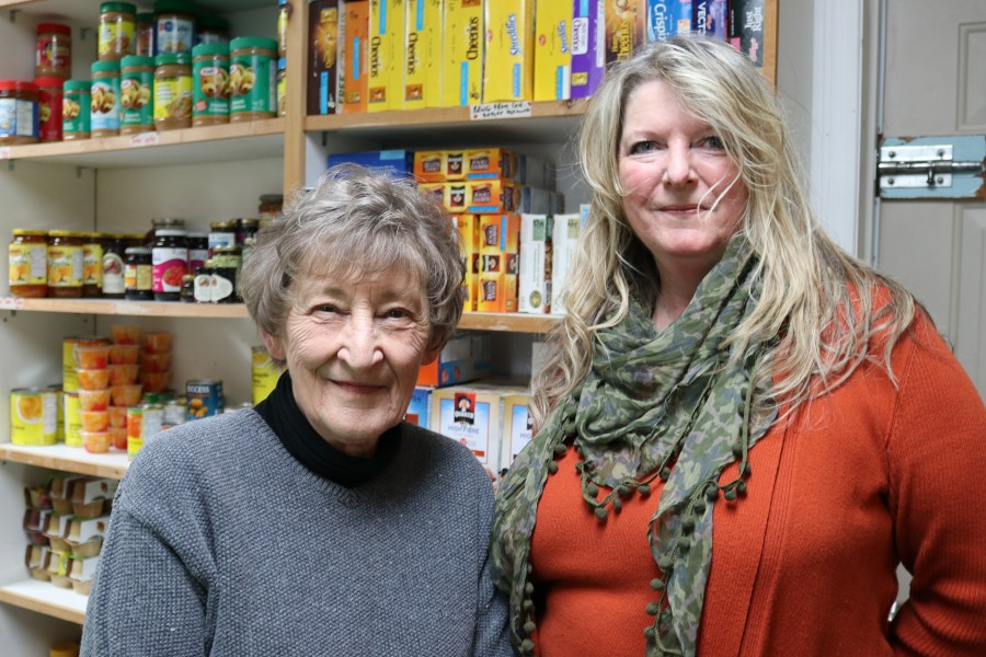 Ollerhead, left, is in charge of the food bank and Bellis is a chair of Newark Neighbours. (Dariya Baiguzhiyeva/Niagara Now)