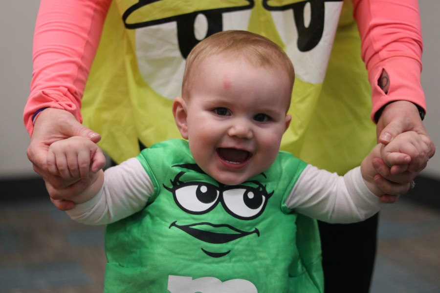 A 10-month-old Kaius Zorko and his mother Rhiannon were dressed in M&M's costumes.