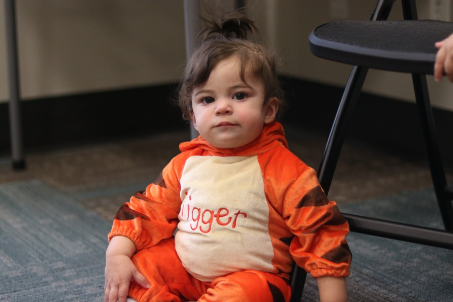 Lennon Pepe dressed as Tigger. Her older brother Maverick was in Winnie-the-Pooh costume.