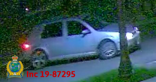Police are looking for a four-door silver Volkswagen Golf with a light blue patch on the front passenger door. The front silver rims are different than the rear silver rims.