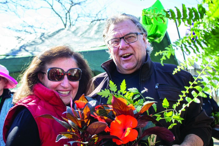 Stan Synowicki and wife MaryAnne lined up for the Horticultural Society sale last Saturday. (Richard Harley/Niagara Now)