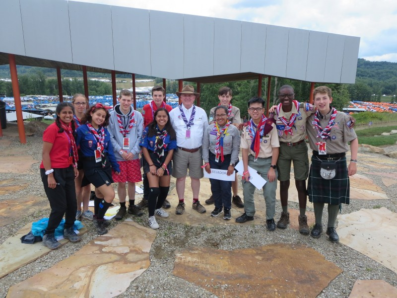 NOTL's Mike Scott at the World Scout Jamboree with scouts from England, Scotland, Mexico, USA, Canada, Ecuador, Taiwan and France. (Supplied)
