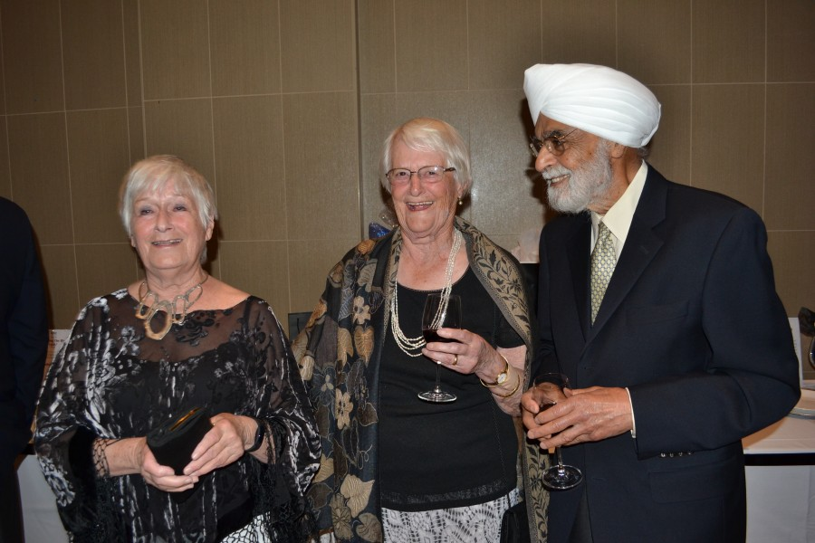 Marnie Collins, a former chair of Music Niagara, with Barbara and Ranjit Ahluwalia. (Kevin MacLean/Niagara Now)