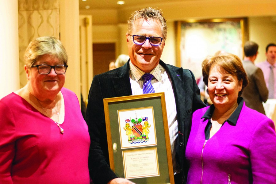 Janice Thomson alongside Rainer Hummel who received the Citizen of the Year Award from Lord Mayor Betty Disero during this year's Spirit of Niagara Awards. (Jer Houghton/Niagara Now)