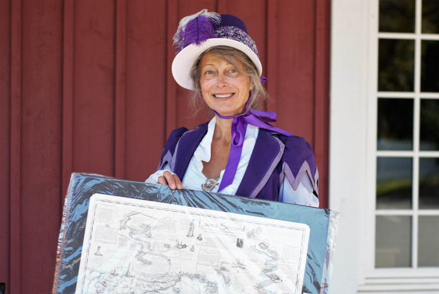 Kathy Thomas crafted the dress for the first Laura Secord Walk and also created the map of Laura Secord historical markers. (Brittany Carter/Niagara Now)