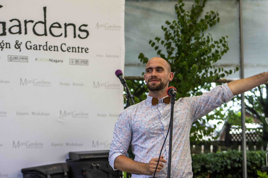 Miguel Mori speaks during the anniversary of Mori Gardens last Saturday. (Jessica Maxwell/Special)