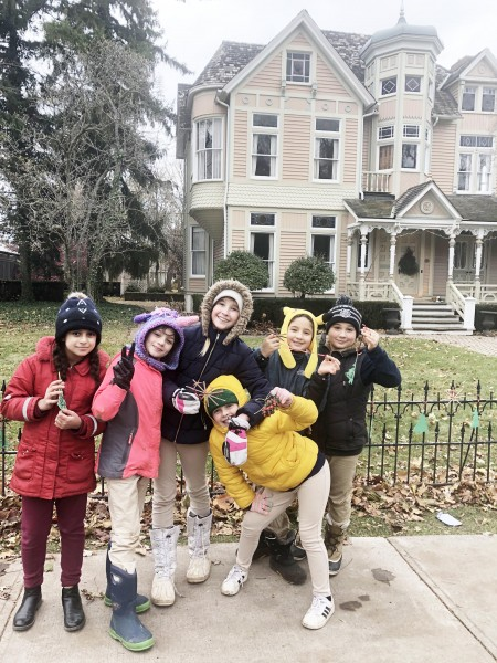 Royal Oak students headed over to the Romance Gallery to place handmade decorations on Monday. (Submitted by Lord Mayor Betty Disero)